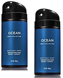 Bath and Body Works 2 Pack Men's Collection Deodorizing Body Spray. OCEAN. 3.7 Oz