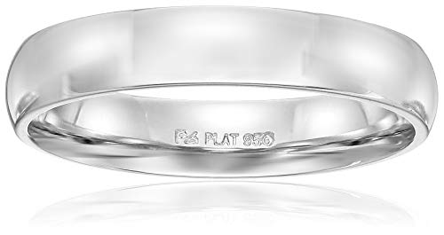 ow Dome, White, Comfort Fit Plain Wedding Band, White, Size 8.5 ()