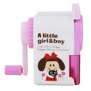 Cute Girl Manual Hand Pencil Sharpener Pink