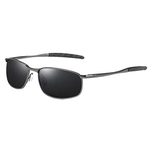 COASION Sunglasses for Men – Mens Polarized Ultra Lightweight Rectangular Sunglasses 100% UV Protection (A Gunmetal Frame/Black Lens) For Sale