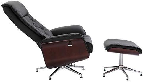 HOMCOM Relaxsessel mit Hocker Fernsehsessel Polstersessel 360° drehbar 145° neigbar Chesterfield PU-Bezug Holzverkleidung Metallfuß Schwarz 82 x 83 x 110 cm