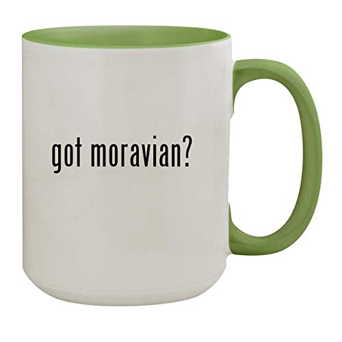 got moravian? - 15oz Ceramic Inner & Handle Colored Coffee Mug, Light Green (Jewelry Moravian Star)