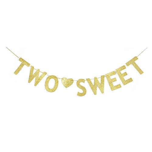 Two Sweet Banner, Baby Girl's 2nd Birthday Party Sign Decorations Gold Gliter Paper]()