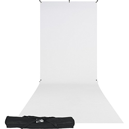 Westcott 5x12' X-Drop Wrinkle-Resistant Backdrop Kit, Includes 5x7' Stand and Carry Case, High-Key White Sweep by Westcott