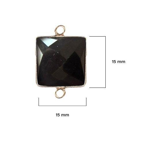 Black Onyx Bezel - Black Onyx - Black Onyx Stone - Black Onyx Beads - 2 Pcs Black Onyx Square 15 mm Silver Bezel - Bezel Gemstone Pendant - Bezel Square