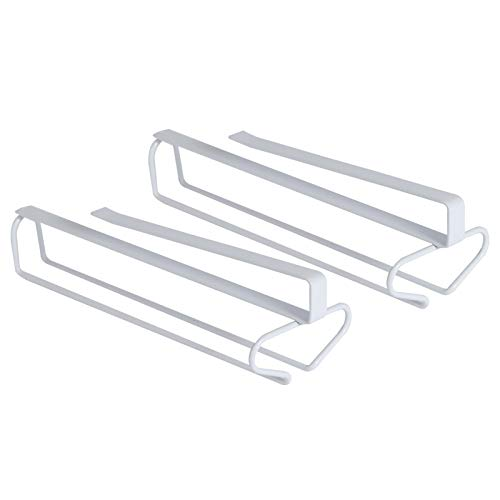 ORZ 2 Pack Stemware Wine Glass Rack Under Cabinet Shelf Metal Storage Nail Free Corkscrew Included