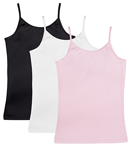 Caomp Girl's Cami Tank Tops (3-Pack) Organic Cotton Spandex Undershirts  Adjustable Spaghetti Straps Pink/White/Black 7/8 by CAOMP