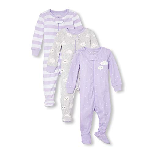 (The Children's Place Baby Girls 3 Pack Stretchie Set, PALESTPURP 6-9MONTHS)