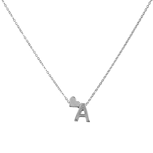 - Swyss 26 Letters Alphabet Personalized Small Letter Charm Pendant Necklace for Women (Silver, A)