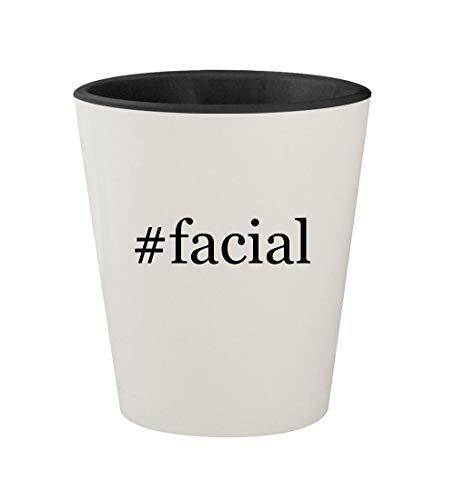 #facial - Ceramic Hashtag White Outer & Black Inner 1.5oz Shot Glass