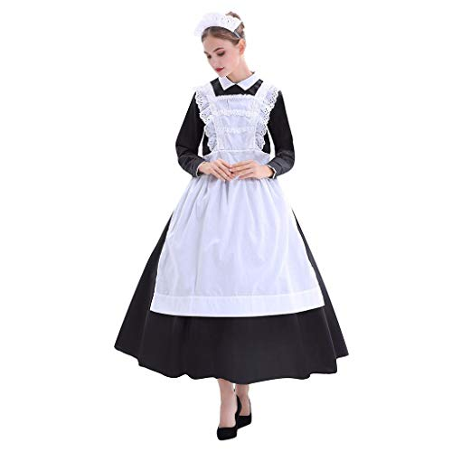 Maid Costumes For Adults (Goddesslili Womens Costumes Halloween, Sexy Maid Breathable Cosplay Costume for Ladies Girls Student Party or Stage Performance Wear, 2019 New Fashion Plus Size)
