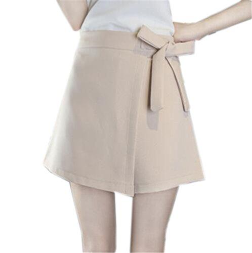 Tayaho Jupe Crayon Femme Jupe Avec Noeud Papillon Miniskirt Universite Loisir Femelle Skirt Taille Haute Jupe Court Couleur Unie Beige