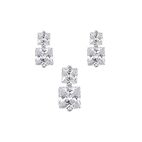 Sterling Silver Luxurious Clear Simulated Princess Cut Earrings and Pendant Set on Tension -