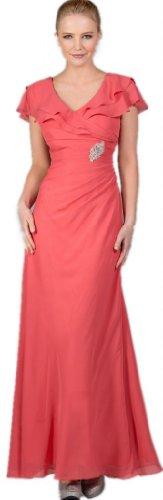 Meier Women's Chiffon Short Sleeves Long Gown in Coral