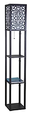"SH Lighting 6958BK-A Wooden Shelf Floor Lamp with Floral Shade Panels, 63""H, Black"