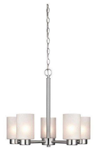 Westinghouse Lighting 6227400 Sylvestre Five-Light Interior Chandelier, Brushed Nickel Finish with Frosted - Mount Bathroom Mirrors
