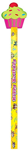 (Moon Products Happy Birthday Pencils, Cupcake Erasers, Assorted Colors, Set of)