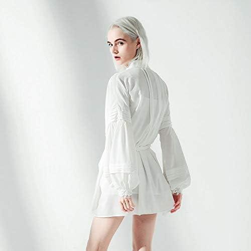 ZXYWW Casual da Donna Top A Tunica Vestito Camicia, Abito in Camicetta Bianca con Collo Ampio Allentato con Cordino in Vita Staccabile/Polsini in Pizzo,S