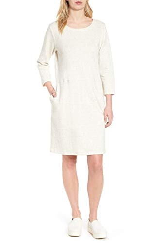 Eileen Fisher Pearl Speckled Organic Cotton Terry Ballet Neck K/L Dress Size M $188