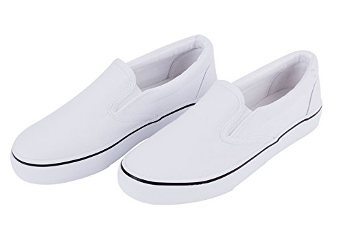 UJoowalk Womens White Comfortable Casual Canvas Slip on Fashion Sneakers Loafers Walking Skate Shoes - Size 8 so2E6A