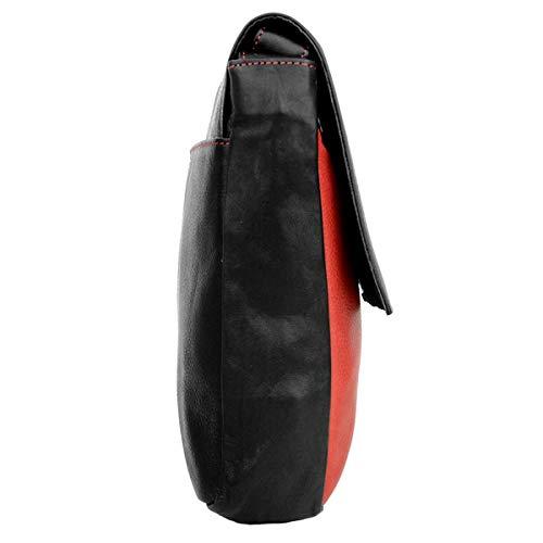 Cartera Mujer Lisa Para Rojo Piel De Negro Devrakh Medium Mano TdqTP