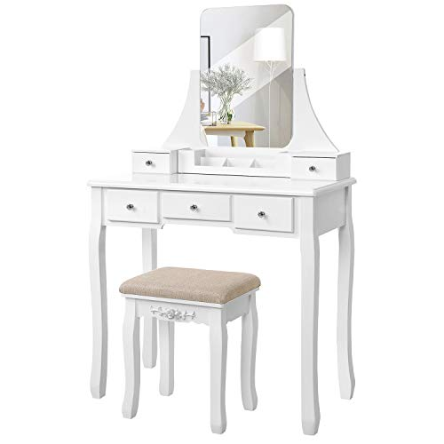 VASAGLE Vanity Table Set with Large Frameless Mirror, Makeup Dressing Table Set for Bedroom, Bathroom, 5 Drawers and 1 Removable Storage Box, Cushioned Stool, White URDT25W - Vanity Bedroom