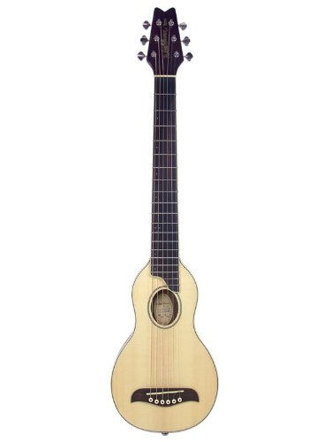 Washburn RO10NG Rover Steel String Travel Acoustic Guitar with Case, Instructional CD-ROM, Strap, and Picks - Natural Gloss - Travel Guitar Strap