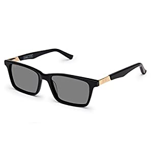 9Five La Jolla Wide Black And Gold Sunglasses