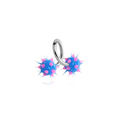 Bubble Body Jewelry Surgical Steel Body Spiral With Silicone Spikey Balls 1.6mm Gauge 14g 1/16