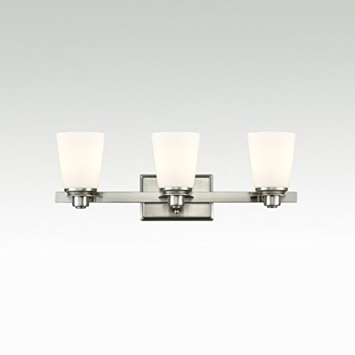 Dazhuan Modern Vanity Lights Triple White Opal Glass Shade 3-Light Powder Room Bathroom Wall Sconce Lighting Fixture Brushed Nickel ()