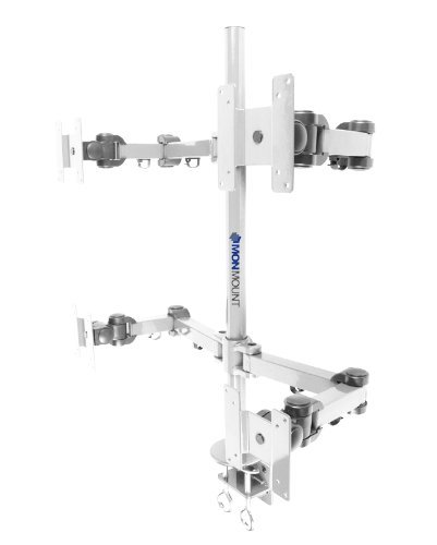 """MonMount Quad LCD Monitor Stand Desk Clamp Holds Upto 4 -27"""""""