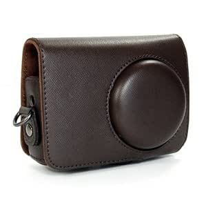 COSMOS ® Brown Leather Case Cover Bag For Nikon CoolPix P300 Camera + Cosmos cable tie