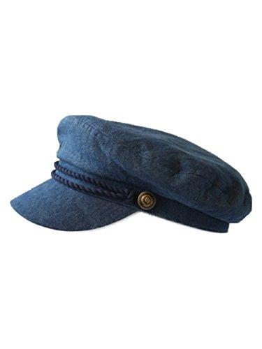 Costume Hats Wholesale (90210 Wholesale Men's Sailor Captain Fisherman Cap Fashion Yacht Boat Costume Fiddler Hats Unisex (Denim)