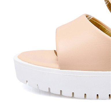 LvYuan Mujer-Tacón Cuña-Confort Innovador-Sandalias-Fiesta y Noche Vestido Informal-Materiales Personalizados Semicuero-Negro Rosa Blanco Beige Pink