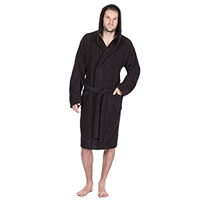 Pierre Roche Men's Towelling Bath Robe With Hood - Cotton Terry Cloth Dressing Gown