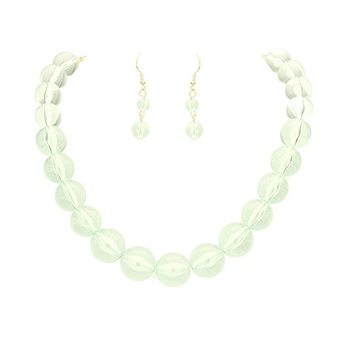 Beads Lucite Drop - Chunky See Through Transparent Light Sea Foam Green Lucite Acrylic Bubble Bead Necklace 18