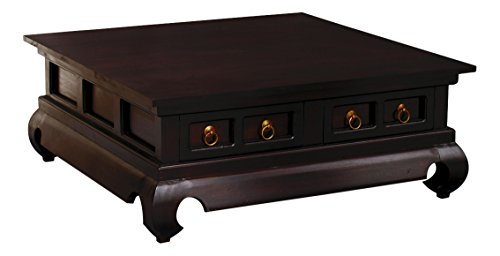 NES Furniture Fine Handcrafted Solid Mahogany Wood Oriental Square Coffee Table, 39