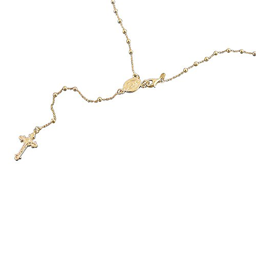 (Double Accent 14K Yellow Gold Plated Sterling Silver Rosary Necklace 2.5mm Bead Cross Italian Rosary Chain (16