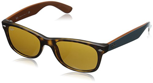 Ray-Ban RB2132 New Wayfarer Sunglasses, Matte Tortoise/Brown, 52 - Ban Brown Frame Ray
