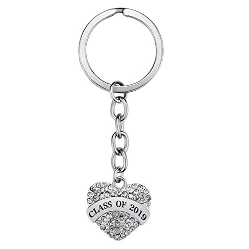 7-Almond Graduation Keychains Class of 2019 Graduate Jewelry Gifts for Classmates, Teachers and Friends,Gifts for Him or Her Graduation Party Favor Ideas (Silver) -