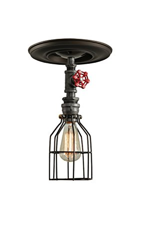 West Ninth Vintage Iron Single Ceiling Farmhouse Light (Red Handle &Cage) 3