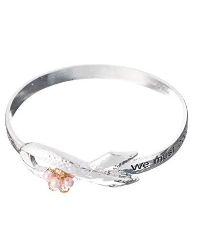 - Jewelry Nexus Hammered Pink Ribbon Bracelet Imitation Pearl & Crystal Never lose infinite hope