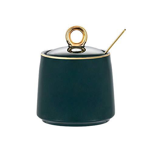 Grün Keramik Zuckerdose Mit Deckel und Zucker Löffel Gewürzgläser Salztopf für Haus und Küche