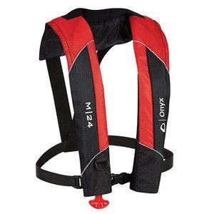 ONYX M-24 MANUAL INFLATABLE LIFE JACKET RED boating equipment