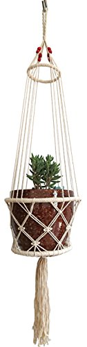 4 Legs Macrame Beige Cotton Plant Holders with Bamboo Ring Inside and Brown Wood Bead Decoration . Beige Color, 25-inches Length