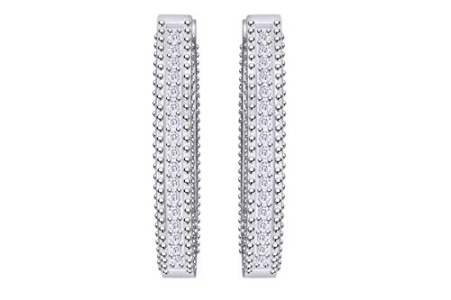 Aria Jewels Round Cut Natural Diamond Hoop Huggies Earrings in 14K White Gold Over Sterling Silver For Women & Girls