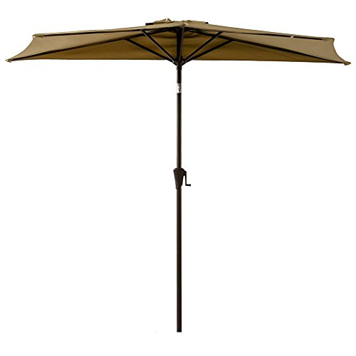 FLAME&SHADE 9ft Half Outdoor Patio Umbrella Market Style with Tilt for Outside Balcony Sun Deck or Terrace Shade, Beige