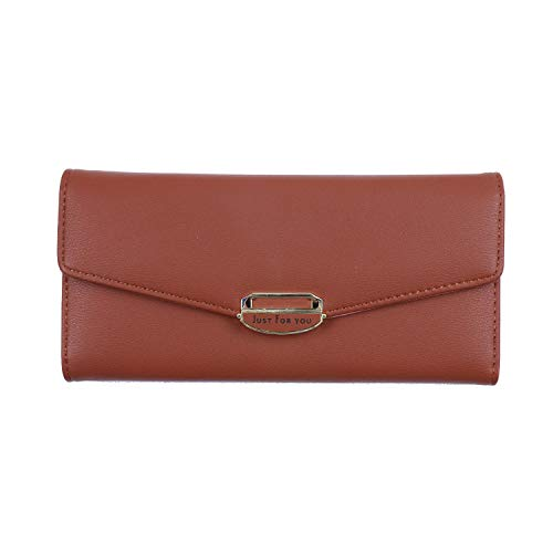 Buckle clutch bag in the long section of the three fold ladies wallet clutch bag Mocha brown
