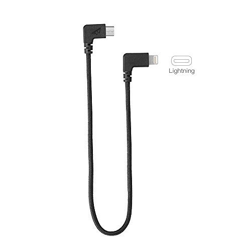 RCstyle Durable Lightning to Micro USB Cable pour DJI Spark,Noir