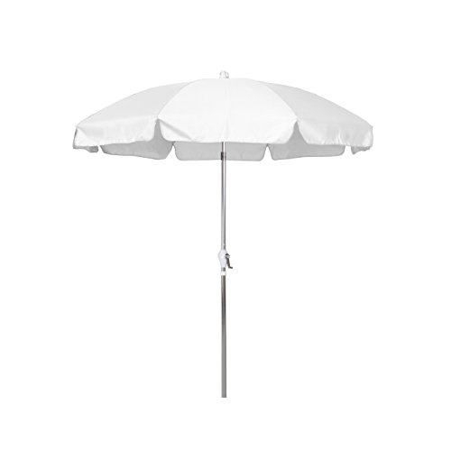 9' Silver Aluminum Pole - California Umbrella 7.5' Round Aluminum Patio Umbrella with Valance, Crank Lift, 3-Way Tilt, Silver Pole, White Olefin